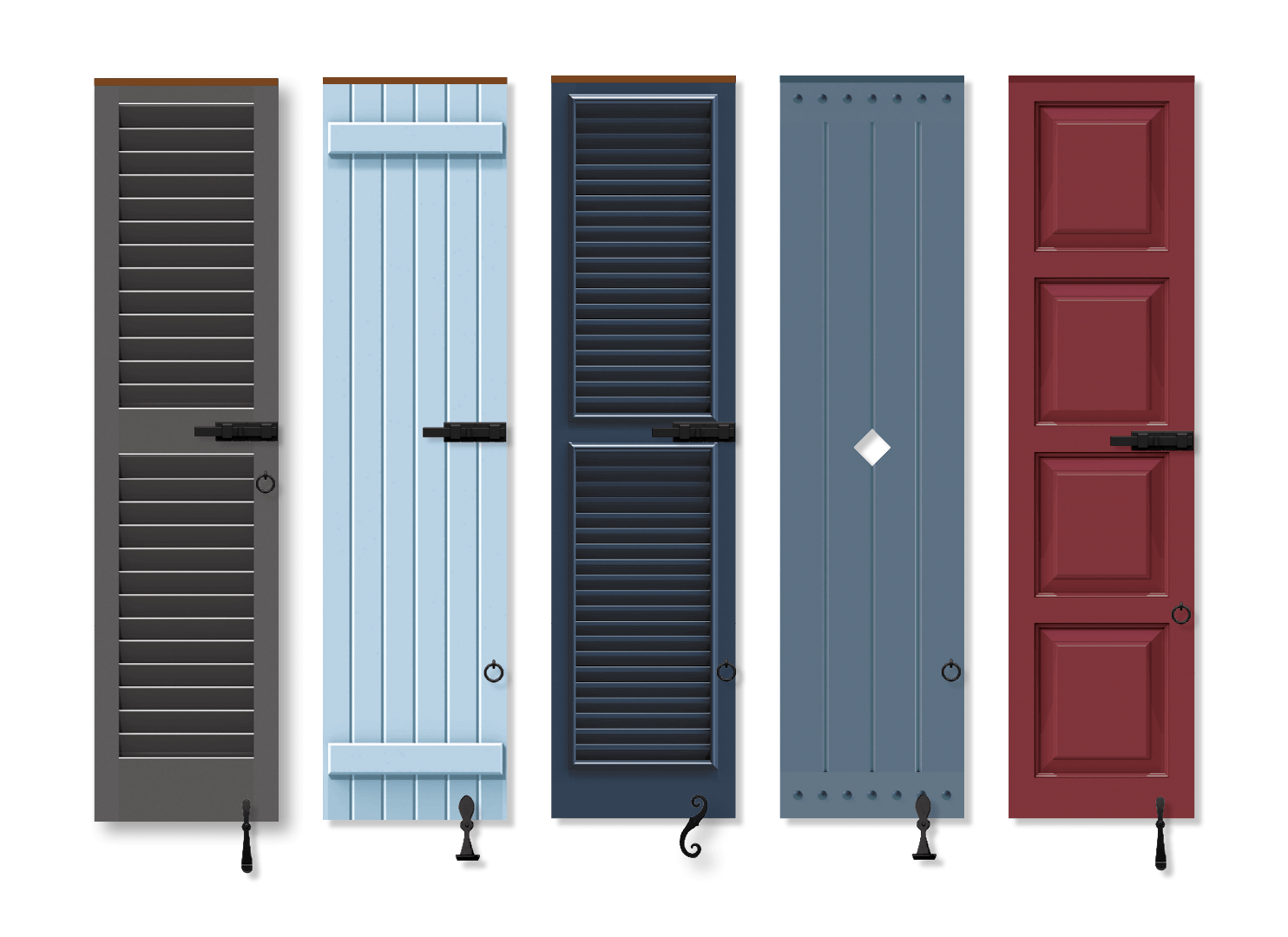 Timberlane Shutters in a row